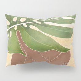 Woman with Monstera Leaf Pillow Sham