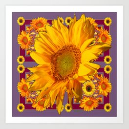 Awesome Patterned Golden Sunflower Art Art Print