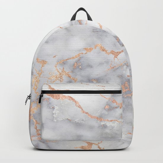 Grey Marble Rosegold  Pink Metallic Foil Style Backpack