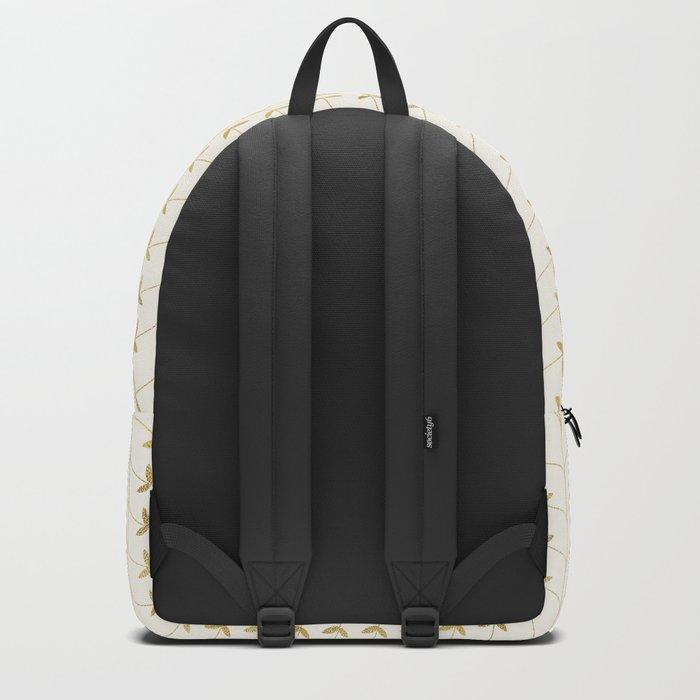 Gold Leaves Pattern Backpack