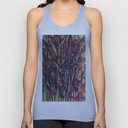 Watercolor Abstract Purple Flower Painting Unisex Tank Top