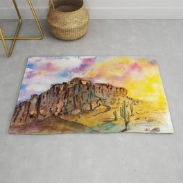The Superstition Mountains Sunrise Rug