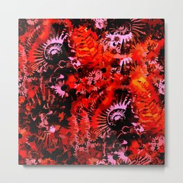 Fossil and Flowers Metal Print