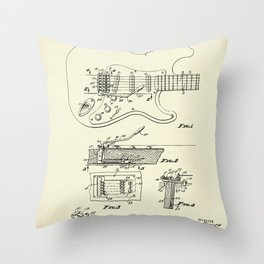 Tremolo Device for Stringed Instruments-1956 Throw Pillow