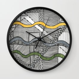 Hand drawn pattern wave on square Wall Clock