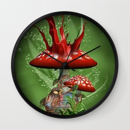 Fairy Mushrooms Wall Clock