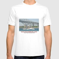 Boating under Bluewater Bridges MEDIUM White Mens Fitted Tee
