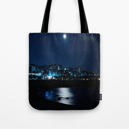Wolf Moon Rising Over Blue Waters Tote Bag