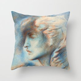 "Simeon Solomon ""Dawn (Head of Hypnos)"" Throw Pillow"