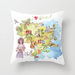Brasil Map Throw Pillow