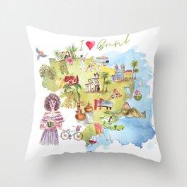 Brasil Map Throw Pillow