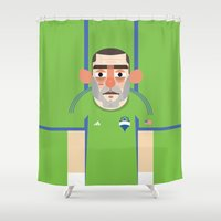 clint eastwood Shower Curtains featuring Clint Dempsey - Seattle Sounders  by Gary  Ralphs Illustrations