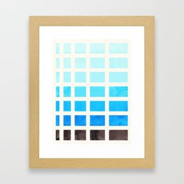 Cerulean Blue Minimalist Mid Century Grid Pattern Staggered Square Matrix Watercolor Painting Framed Art Print