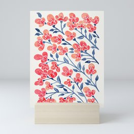 Cherry Blossoms – Melon & Navy Palette Mini Art Print