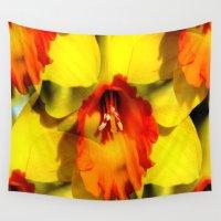trumpet Wall Tapestries featuring Daffodil - Orange Trumpet by Judy Palkimas