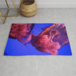 Jellyfish Photography | Pink | Rainbow | Colourful Deep Sea Exploration | Ocean creature Rug