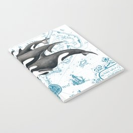 Orca Whales Family Blue Vintage Map Notebook