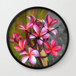Hawaiian Pink Plumera Wall Clock