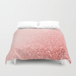 Rose Gold Pink Mermaid Sparkles V Duvet Cover