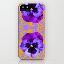 FOUR  PURPLE PANSIES ON LILAC  BROCADE GARDEN iPhone Case