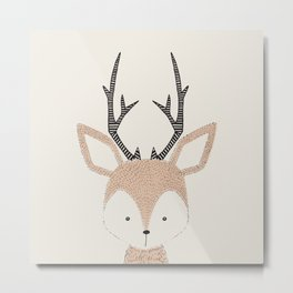 Baby Deer Woodland Animals Cute Fawn Metal Print