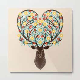 Blooming Deer Spring Metal Print