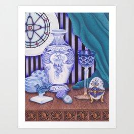 """Still life with blue objects II"" Art Print"