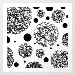 Scribbles - Black and white scribbles and black circles pattern on white Art Print