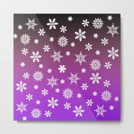 Snow Flurries-Purple/Black Ombre Metal Print