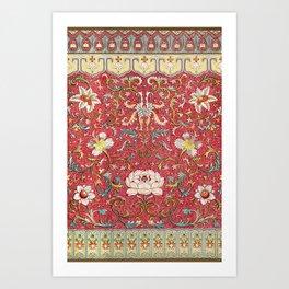 Asian Lotus Flower Pattern in Red Antique Illustration Art Print