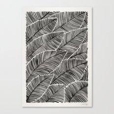 Tropical Palm Leaves – Black Palette Canvas Print