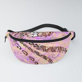 Hawaiian - Samoan - Polynesian Coral Shell Tribal Tie Dye Designer Fanny Pack