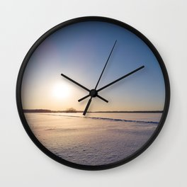 Clear Day on Snowy Lake Ice Wall Clock