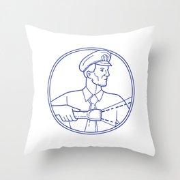 Security Guard Flashlight Circle Mono Line Throw Pillow