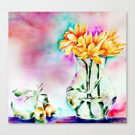 Still Nature with flowers and fruits Canvas Print
