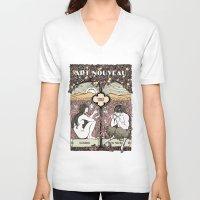 cannabis V-neck T-shirts featuring Cannabis, Art Deco by Susan Szecsi