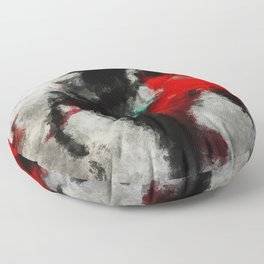 Black and Red Abstract Art Floor Pillow