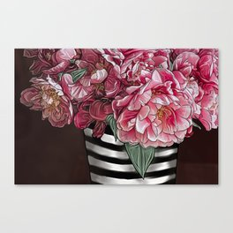 Striped Roses Canvas Print