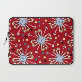 mandala pattern on red background Laptop Sleeve