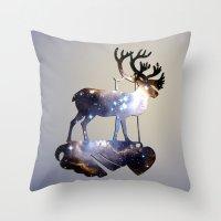 reindeer Throw Pillows featuring Reindeer by infloence