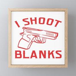 """I Shoot Blanks"" Anatomy Of A Pew Bang Button Metal Magical Fire Dust T-shirt Design Shooting Framed Mini Art Print"