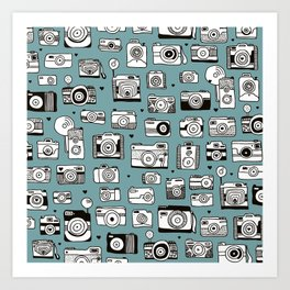 Smile action toy camera vintage photography pattern Art Print