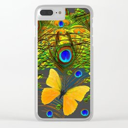 GREEN PEACOCK FEATHERS YELLOW BUTTERFLIES Clear iPhone Case