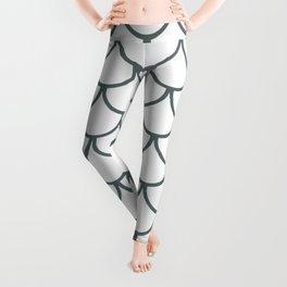 Steel Grey Fish Scales Pattern Leggings