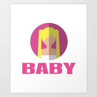 spice girls Art Prints featuring BABY SPICE by Chilli Cactus