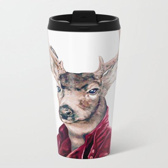 Deer In Leather Metal Travel Mug