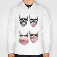 bubblegum Hoodies featuring Skulls chewing bubblegum by Piotr Burdan