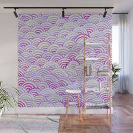Watercolor Waves - Peach Violet Wall Mural