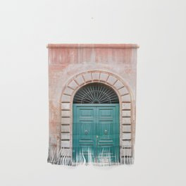 Turquoise Green door in Trastevere, Rome. Travel print Italy - film photography wall art colourful. Wall Hanging
