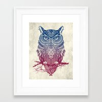 dragon ball z Framed Art Prints featuring Evening Warrior Owl by Rachel Caldwell
